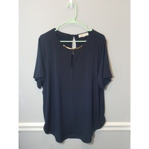 Dark Blue Michael Kors Short Sleeve Blouse